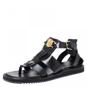 Versace Black Leather Medusa Gladiator Flat Sandals Size 43