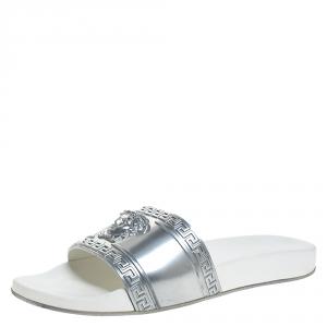 Versace Silver Rubber Medusa Head Slide Sandals Size 43