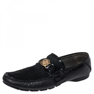 Versace Black Leather And Suede Medusa Loafers Size 44