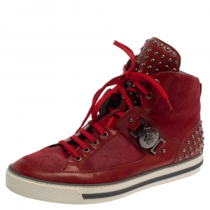 Versace Red Suede And Leather Medusa Embellished High Top Sneakers Size 43.5