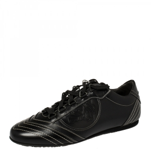 Versace Black Leather Low Top Sneakers Size 40