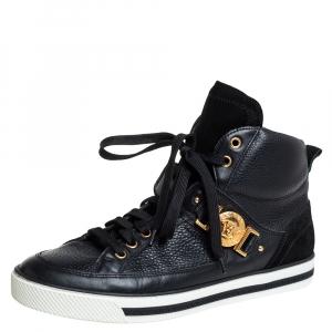 حذاء رياضي فيرساتشي ميدوسا سويدي وجلد أسود بعنق مرتفع مقاس 41.5