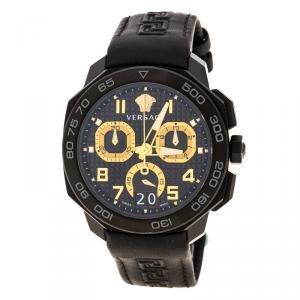 Versace Black Stainless Steel Dylos Chronograph  VQC020015 Men's Wristwatch 44 mm