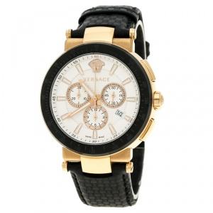 Versace White Dial Gold Tone Stainless Steel Mystique VFG Sport Men's Wristwatch 46 mm