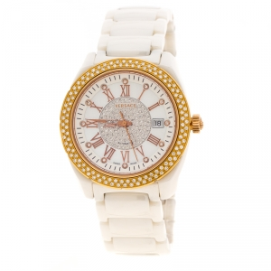 Versace White Mother of Pearl Diamond Stainless Steel Ceramic Unisex Men's Wristwatch 40MM