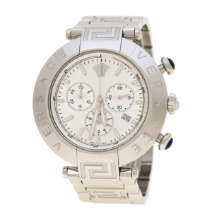Versace Silver Stainless Steel Reve VQZ Chronograph Men's Wristwatch 46 mm