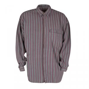 Versus Versace Grey and Red Striped Cotton Long Sleeve Button Front Shirt XXL