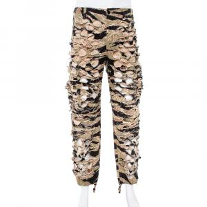 Vetements Green Camouflage Print Cotton Cutout Military Pants S