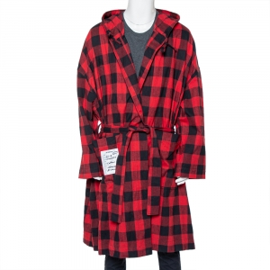 Vetements Red & Black Plaided Flannel Belted Robe M