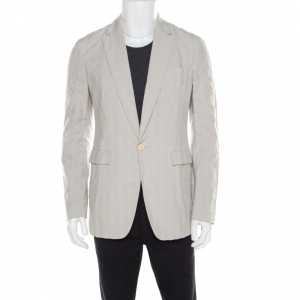 Viktor & Rolf Monsieur Beige Self Striped Seer Sucker Cotton Blazer M