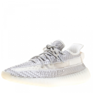 Yeezy x Adidas Grey And White Cotton Knit Boost 350 V2 Static Non-Reflective Sneakers Size 45.5