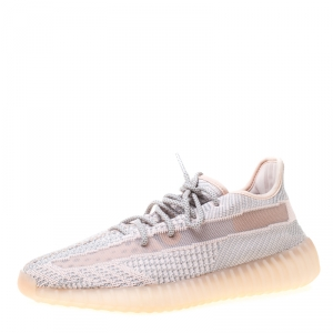 Yeezy x Adidas Light Pink/Grey Cotton Knit Boost 350 V2 Synth Non-Reflective Sneakers Size 44