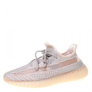 Yeezy x Adidas Light Pink/Grey Cotton Knit Boost 350 V2 Synth Non-Reflective Sneakers Size 42