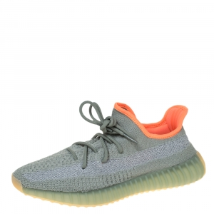 Yeezy x Adidas Grey Knit Fabric Boost 350 V2 Desert Sage Reflective Sneakers Size 44