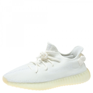 Yeezy x Adidas White Cotton Knit Boost 350 V2 Sneakers Size 48