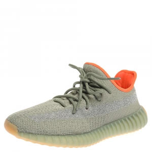 Yeezy x Adidas Pale Green Cotton Knit Boost 350 Desert Sage Sneakers Size 43.5