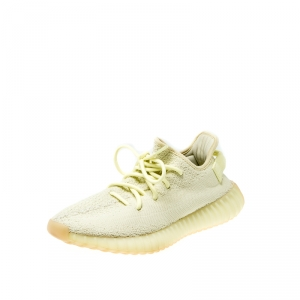 Yeezy x Adidas Yellow/Cream White Cotton Knit Boost 350 V2 Sneakers Size 39.5