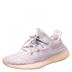 Yeezy x Adidas Light Pink/Grey Cotton Knit Boost 350 V2 Synth Non-Reflective Sneakers Size 41.5