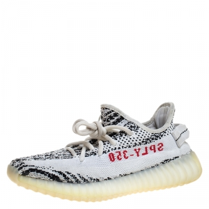 Yeezy x Adidas White/Black Knit  Fabric Boost 350 V2 Zebra Sneakers Size 37.5