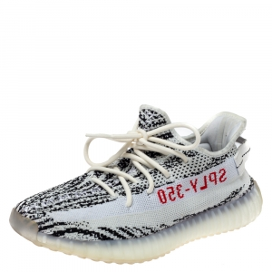 Adidas Yeezy 350 White/Black Knit Fabric Boost V2 Zebra Sneakers Size 42.5