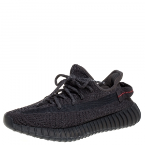 Yeezy x Adidas Black Cotton Knit Boost 350 V2 Reflective Sneakers Size 40