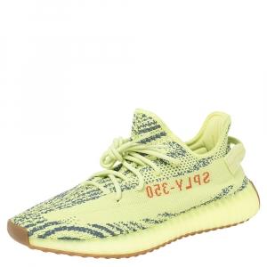 Yeezy x Adidas Green Cotton Knit Semi Frozen Boost 350 V2 Sneakers Size 46 2/3