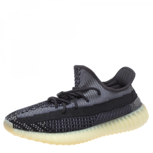Adidas Yeezy Black Cotton Knit Boost 350 V2 Carbon Sneakers Size 44 2/3