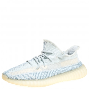 Yeezy x Adidas Blue/White Cotton Knit Cloud White Boost 350 V2 Non Reflective Sneakers Size 43.5