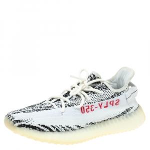 Yeezy x Adidas White/Black Cotton Knit Boost 350 V2 Zebra Sneakers Size 43.5