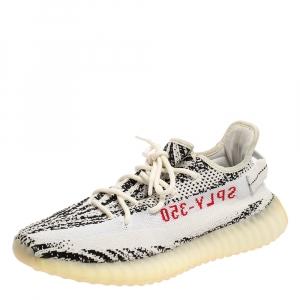 Yeezy x Adidas White/Black Cotton Knit Boost 350 V2 Zebra Sneakers Size 43 1/2