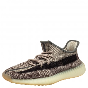 Yeezy x Adidas Grey/Black Knit Fabric Boost 350 V2 Zyon Sneakers Size 42 2/3