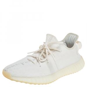 حذاء رياضي ييزي x أديداس بوست 350 V2 قماش تريكو أبيض تريبل عنق منخفض مقاس 41 1/3
