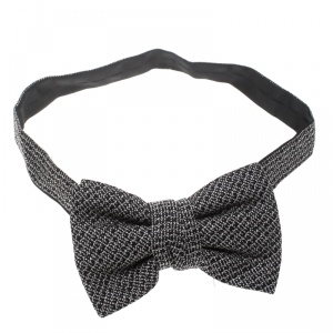 Yves Saint Laurent Monochrome Textured Silk Jacquard Bow Tie