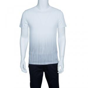 Yves Saint Laurent Paris Off White Vertical Striped Detail Short Sleeve T-Shirt M