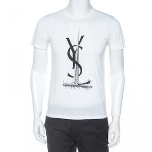 Yves Saint Laurent White Logo Print Cotton Dubai Exclusive T-Shirt M