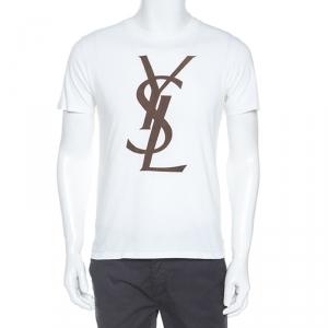 Yves Saint Laurent White Logo Print Cotton T-Shirt M