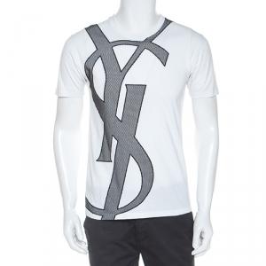 Yves Saint Laurent White Cotton Contrast Mesh Logo Detail T Shirt M