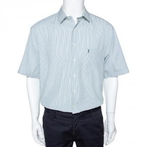 Yves Saint Laurent Green Striped Cotton Short Sleeve Shirt XL