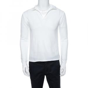 Yves Saint Laurent White Cotton Long Sleeve Polo T-Shirt XL