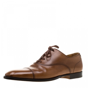 Saint Laurent Brown Leather Cap Toe Lace Up Oxfords Size 41.5