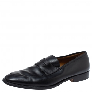 Yves Saint Laurent Black Leather Penny Loafers Size 43