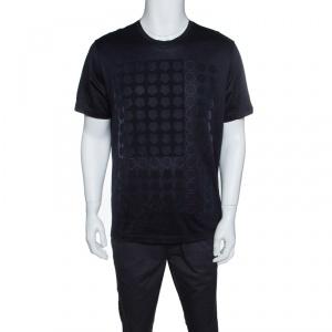 Z Zegna Navy Blue Pentagon Flock Printed Short Sleeve T-Shirt XL