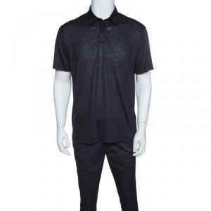 Z Zegna Techmerino Navy Blue Wool and Linen Slub Jersey Polo T-Shirt L