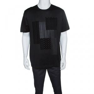 Z Zegna Black Zigzag Flock Printed Short Sleeve T-Shirt XL