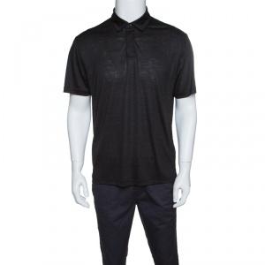 Z Zegna Techmerino Dark Grey Wool and Linen Slub Jersey Polo T-Shirt L