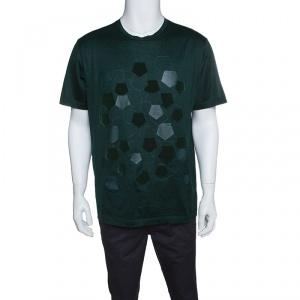 Z Zegna Green Pentagon Flock Printed Short Sleeve T-Shirt XL