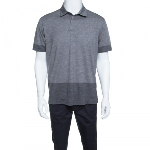 Z Zegna Techmerino Grey Contrast Trim Polo T-Shirt L - used