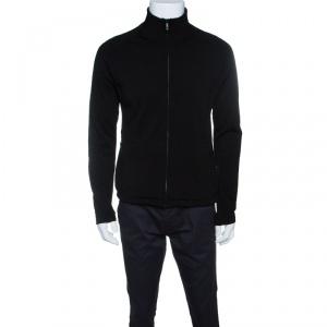 Z Zegna Technomerino Black Wool Contrast Neck Zip Front Sweatshirt M