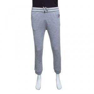 Z Zegna Techmerino Grey Contrast Striped Wool Logo Patch Jogger Pants M