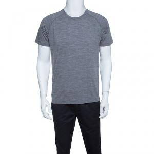 Z Zegna Techmerino Grey Wool Crew Neck T-Shirt M
